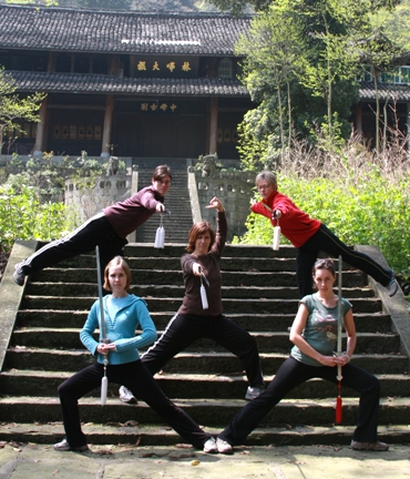 students in China practicing martial arts
